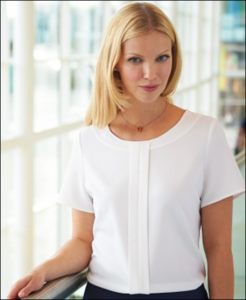 Women's Short Sleeve Pleat Front Blouse