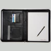 CHELSEA LEATHER A4 ZIPPED CONFERENCE FOLDER WITH EXPANDED STORAGE