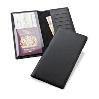 Travel Wallet with one clear pocket and one material pocket with card slots.