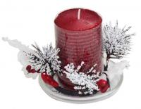 RED CANDLE WITH SAUCER