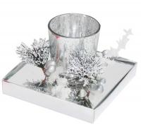 SILVER COLOUR GLASS CANDLE