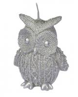 CANDLE GREY OWL WITH GLITTER