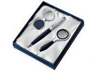 SET PEN/KEYCH./MAGNIFIER CHROMED/BLUE