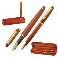 Rosewood pen set in case brown