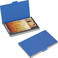 Rubberised business card holder blue
