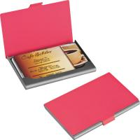 Rubberised business card holder red