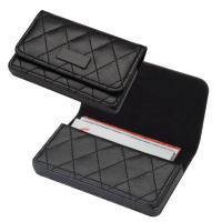 Business card holder with quilted pattern black