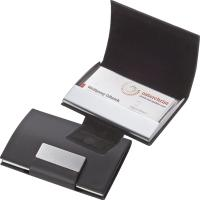 Business card holder with artificial leather covering black