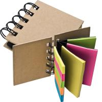 Small ring-binder with sticky notes brown