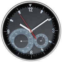 Wall clock with hygro and thermometer black