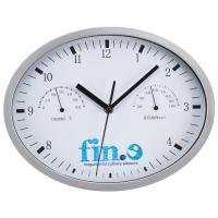 Wall clock with hygrometer, thermometer and click system white