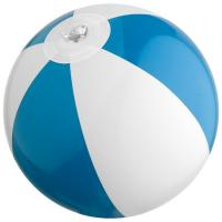 Bicoloured mini beach ball with 21.5 cm segments. blue