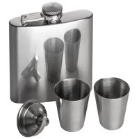 Hipflask set with 2 cups grey