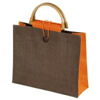 Jute bag with bamboo grip orange