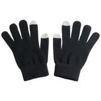 Acrylic gloves with touch tops on two fingers black