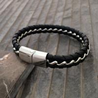 nickis mens black leather chain bracelet