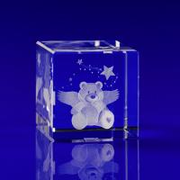 Crystal Glass Cube Award or Trophy