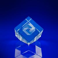 Crystal Glass Cube Slant Award or Trophy