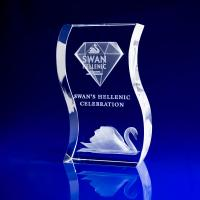 Crystal Glass Wave Award or Trophy