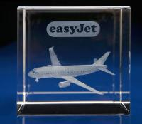 Crystal Glass Aeroplane Paperweight or Award