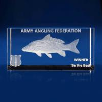 Crystal Glass Angling Paperweight or Award