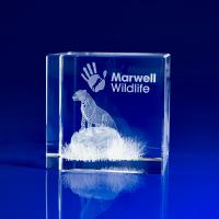 Crystal Glass Animal Paperweight or Award