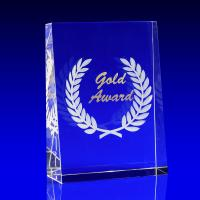 Crystal Glass Gold Paperweight or Award