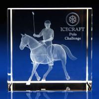 Crystal Glass Horse Paperweight or Award