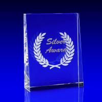 Crystal Glass Silver Paperweight or Award