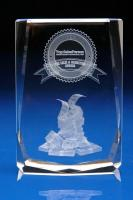 Crystal Glass Financial Paperweight or Award