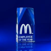 Crystal Glass Employee Recognition Paperweight or Award