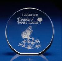 Crystal Glass Thank you Paperweight or Award