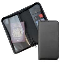 Zipped Travel Wallet with one clear pocket and one material pocket with card slots.