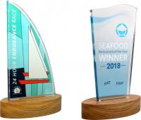 BESPOKE FREESTANDING ACRYLIC AWARDS   WOOD BASE E94202