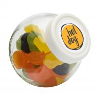 Candy jar 395 ml with white plastic lid and filled with a choice of special category sweets