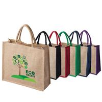 Tatton Large Natural Jute Bag with Dyed Gusset and Handles