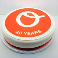8 Inch Round Cake (28 Portions) - Edible Logo - British Made