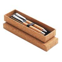 QUERCUS Metal Ball pen set in cork box MO9678-40