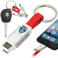 Magnetic Slide USB Cable Keyring - 3-in-1