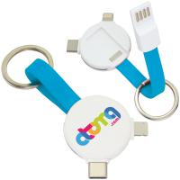 Magnetic Round USB Cable Keyring - 3-in-1