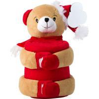 Christmas plush animal with blanket.