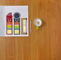 House shaped bookmark and sticky notes.