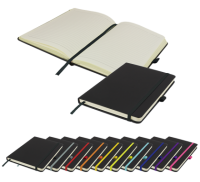 De Niro A5 Lined Soft Touch PU Notebook, including a pocket in the back. (196 pages)