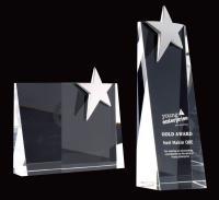MEDIUM OPTICAL CRYSTAL TALL WEDGE AWARD WITH CHROME STAR E108902