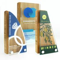 Small Bamboo Block Award with acrylic front, basic standard shapes - British Made