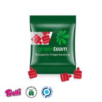 "Jelly Gums Mini Bag 10 g, standard shape, compostable foil,   Sparkassen ""S"", transparent"