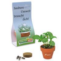 Mini logo-pot hand over packaging - Grass