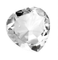 HEART IN WHITE GLASS diam mm 80