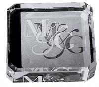 OPTICAL CRYSTAL SQUARE PAPERWEIGHT  E113605